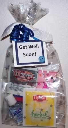 """Make a """"Get Well"""" gift bag. In a bag include a lotion, kleenex, hand sanitizer, aspirin, tea, a can of Chicken Noodle soup, honey, chapstick, game book, etc."""