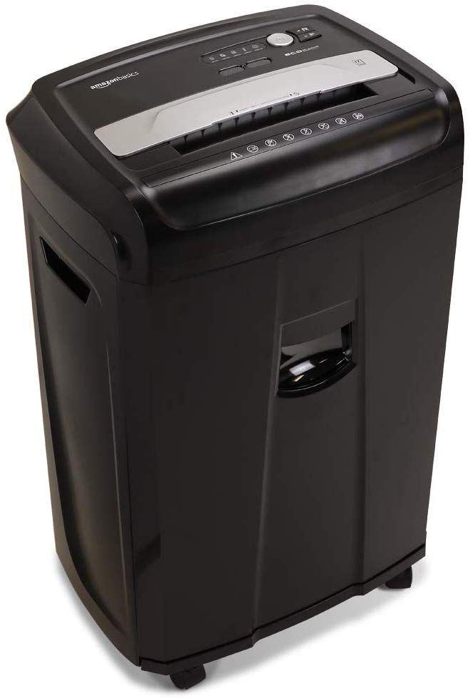 Cross-cut paper shredder with 24-sheet capacity; destroys credit cards, CDs, and DVDs (one at a time)Shreds paper into strips measuring 7/32 by 1-27/32 inchesLED indicators: Standby, Overheat, Overload and Door open25 minute continuous run time with 60 minute cool down time; Auto start and auto reverse to clear paper jamsMeasures 26.2 by 16.3 by 11.9 inches; 7-gallon pullout bin; thermal protection with auto shut-off; Backed by an AmazonBasics 1-#paperShredder #BestPaperShredder #CrossCutPaperSh