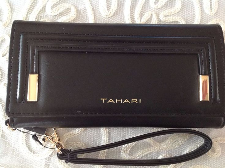 Tahari Wallet Black With Gold Accents Identity Protecting Lining Womens  New  #Tahari