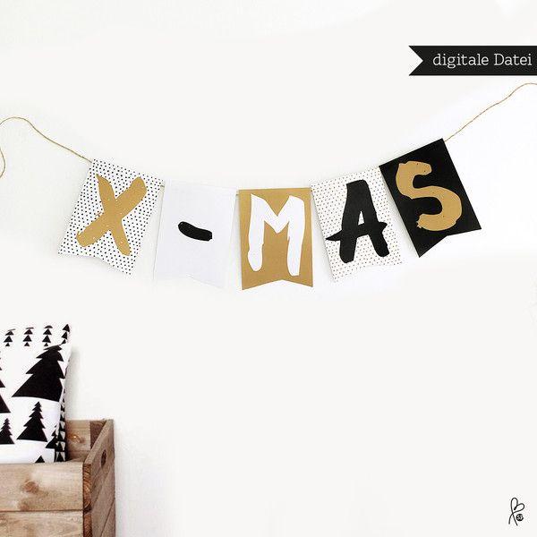 """Weihnachtsdeko - Girlande """"X-MAS"""" / Weihnachten / Printable A5 - ein…"""