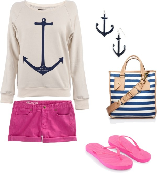 Nautical Feelings, created by cl-sugar on Polyvore: Pink Shorts, Nautical Feelings, Cl Sugar, Adorable Outfits, Nautical Shirts, Anchors Sweaters, Nautical Sweatshirts, Boats Outfits, Anchors Tops