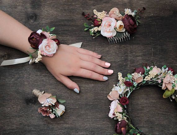 Pink Burgundy Wedding Floral Accessories, Autumn Wedding Set Bridesmaid Corsage Boutonniere Bridesmaid Headpiece Flower Girl Floral Comb