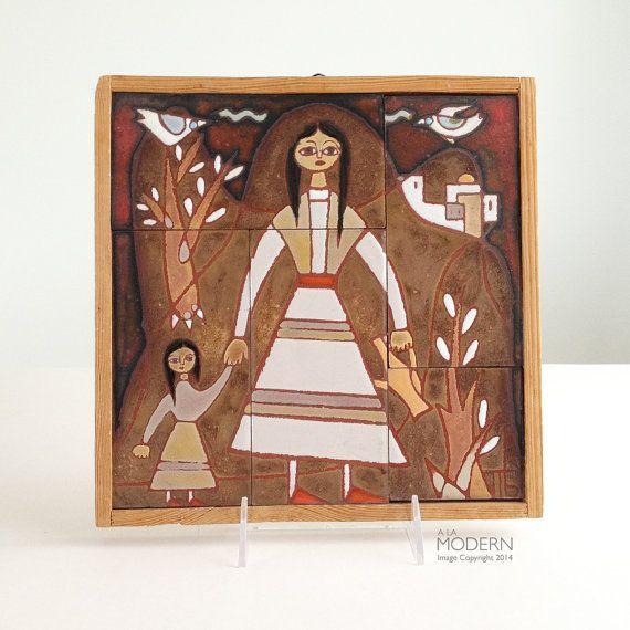 Panos Valsamakis Greek Mid Century Tile Scene Mother by alamodern - SOLD!