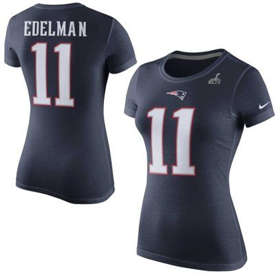 ... T-Shirt Womens New England Patriots Julian Edelman Nike Navy Blue Super  Bowl XLIX Player Pride Name and ... 9ed0a023e
