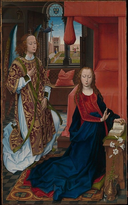 Hans Memling, The Annunciation, 1465-75    The composition is based on a design by Rogier van der Weyden. Possibly commissioned before his death in 1464, it was painted by Hans Memling