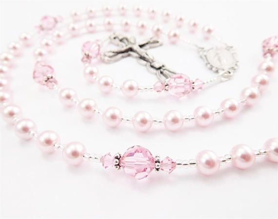 Personalized with name or initials - put name in optional notes to seller box at checkout. - Swarovski crystal rosary in light pink - Processing time - 3-5 business days - Comes with velour pouch and gift box - I take rush orders free of charge. Include the date of the event in