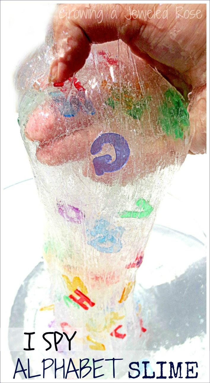 Eye Spy Alphabet Slime Recipe from Growing a Jeweled Rose. This slime is OOEY and GOOEY just like a good slime should be with an added element of learning that kids love!