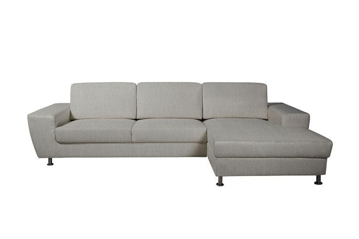 Oregon 2 pers. sofa med chaiselong højrevendt lysegrå
