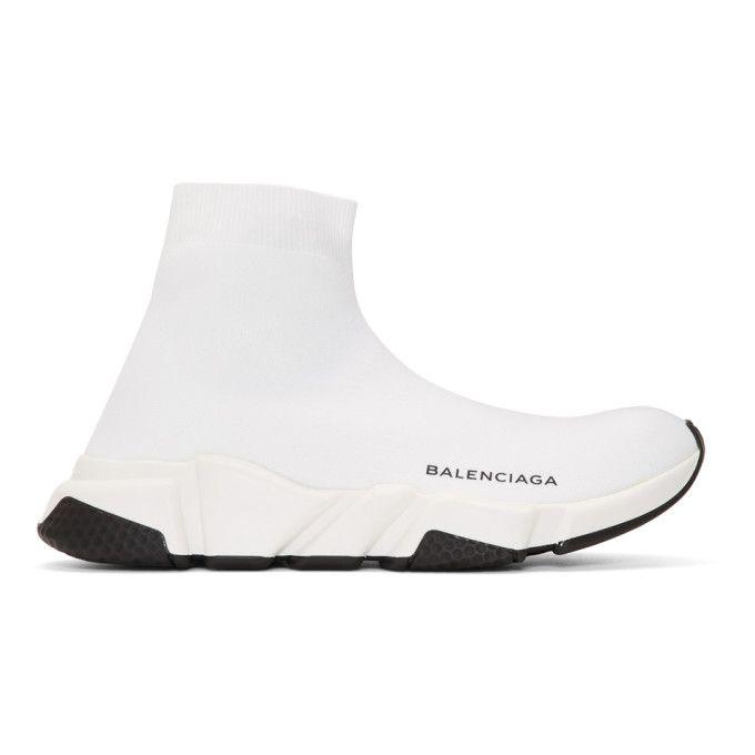 BALENCIAGA | White Speed Runners High-Top Sneakers #Shoes #High top sneakers #BALENCIAGA