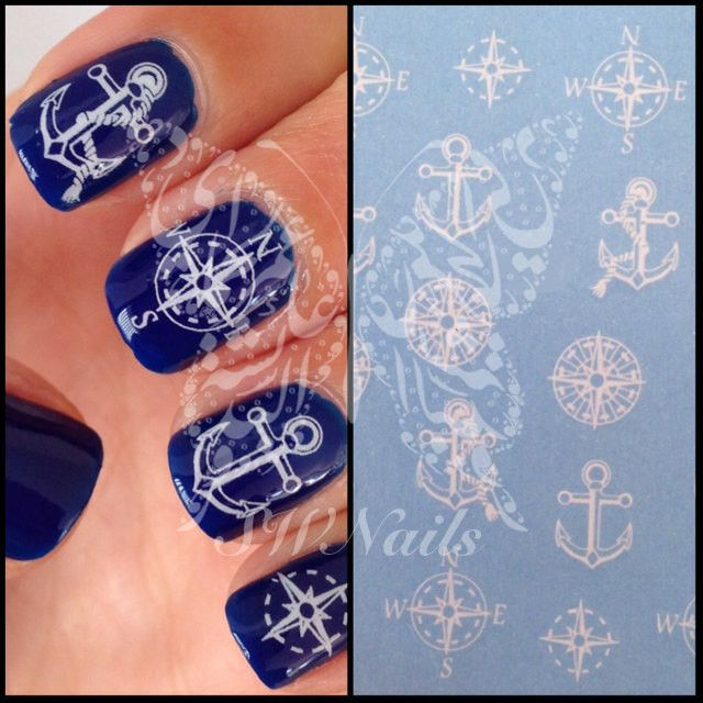 Nail Art Anchor Compass Nail Water Decals Transfers Wraps