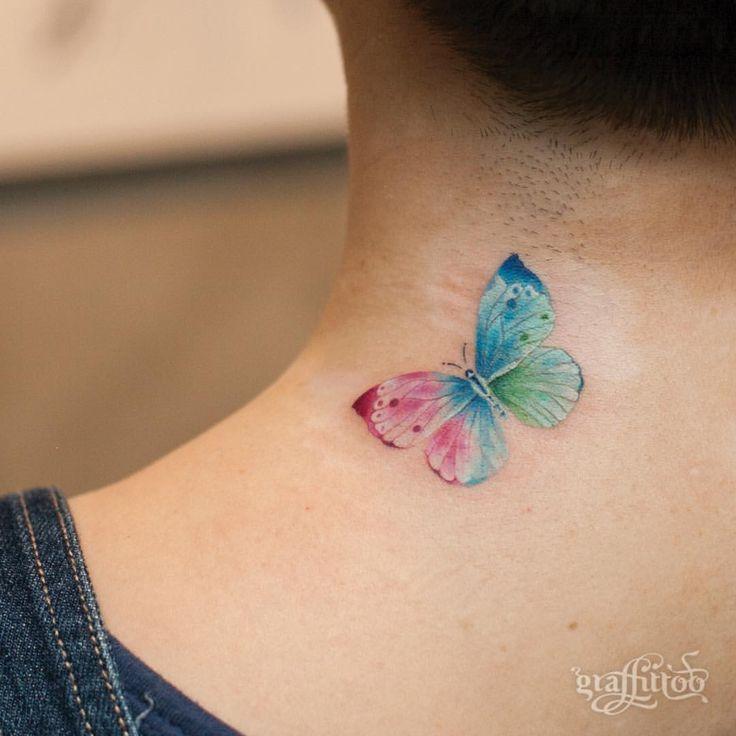 나비 :-) - #타투 #그라피투 #타투이스트리버 #디자인 #그림 #디자인 #아트 #일러스트 #tattoo #graffittoo #tattooistRiver #design #painting #drawing #art #Korea #KoreaTattoo #butterfly #butterflytattoo #나비 #나비타투 #watercolor #watercolortattoo ##수채화타투