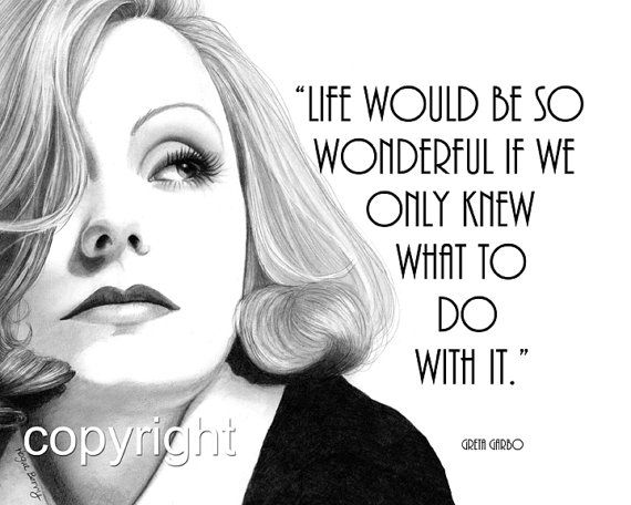 Greta garbo quote 8x10 fine art print pencil drawing for Black and white celebrity prints