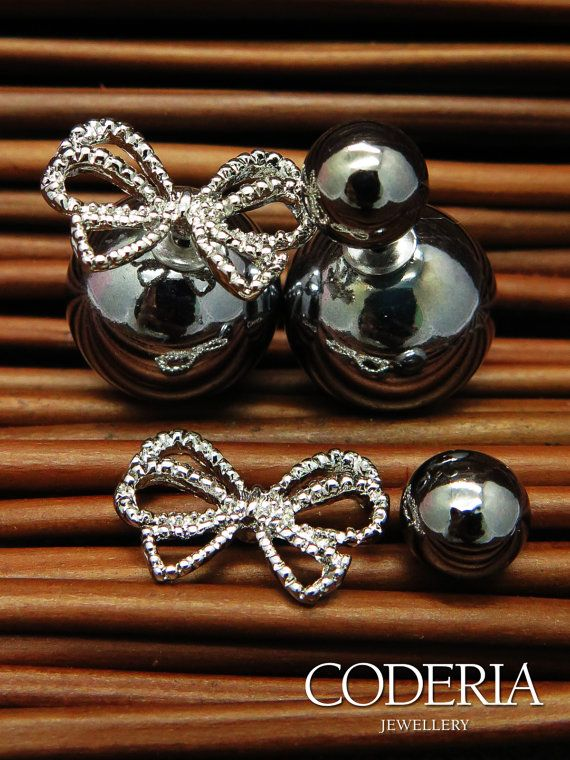SALE Double sided Earrings Charcoal Color by CoderiaJewellery