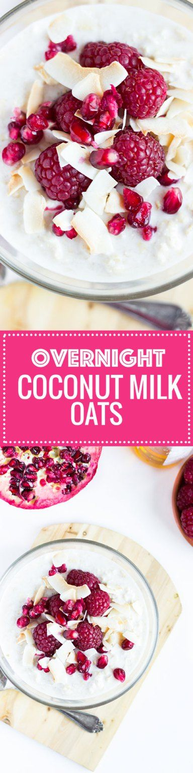 Creamy and luscious overnight oats made with coconut milk. Serve with raspberries, shaved coconut or with mango and pineapple!