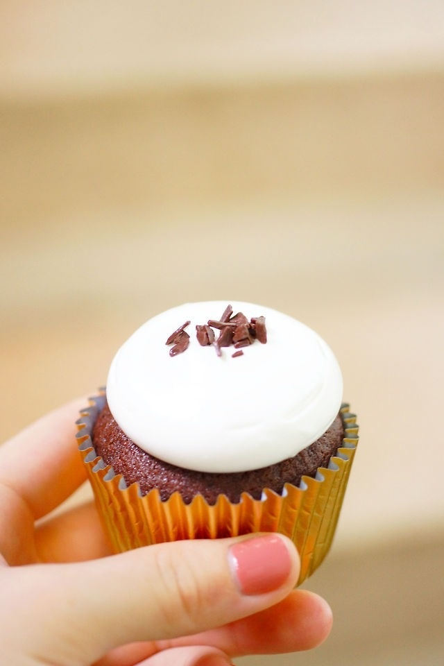 Chocolate cupcake with fluffy icing!