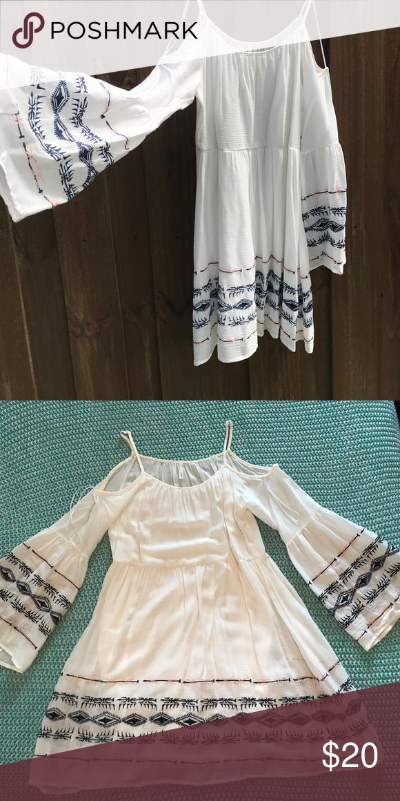 Boho Babe Dress Worn once! Purchased from Altr'd state! Excellent condition has a built in slip so no bra, bandeau, you do you! More off white than cream I would say. Cute cut outs over shoulders and beautiful embroidered detail. Perfect Festival Dress! Sage Dresses