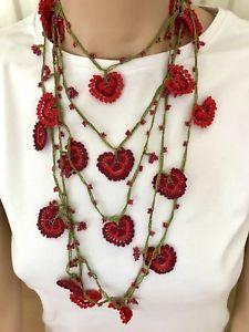 Red heart necklace, women jewelry, crochet necklace, boho, vintage, anatolian.    eBay