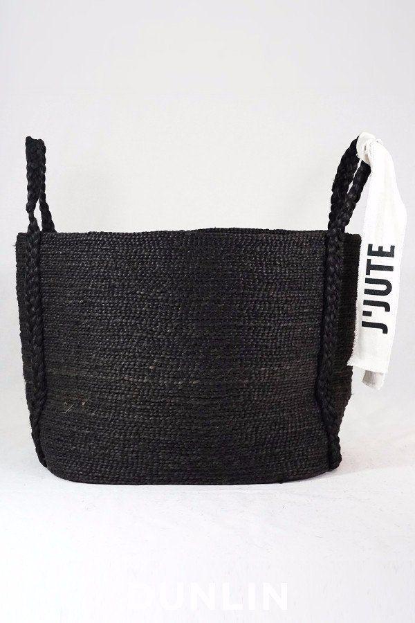 J'Jute Andaman Medium Jute Basket in Onyx