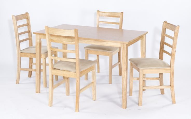 Lydia  Table with KSK Malaysian Oak wood veneer top with 4 cream faux suede upholstered chairs. Table Dimensions: L1200mm x W762mm x 750mm Chair Dimensions: W455mm x D420mm x H905mm