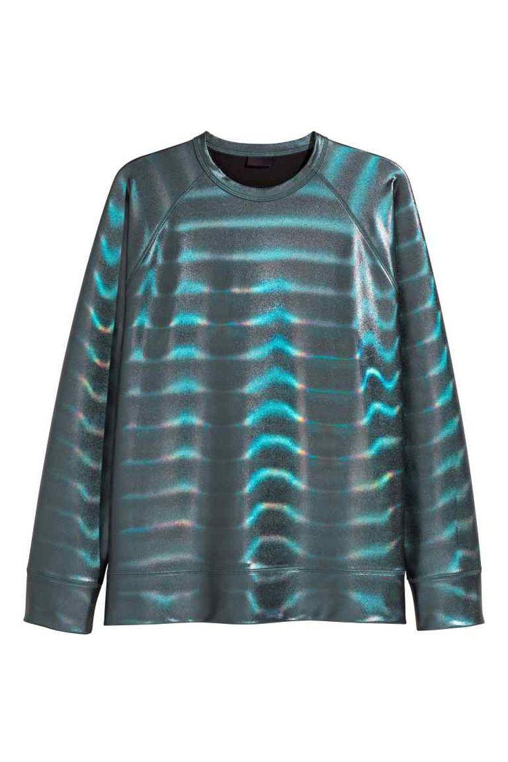 Sweater met coating - Zwart/metallic - HEREN   H&M NL