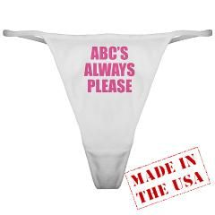 Avoid any potentially awkward discussions about what you want from him in the bedroom. Let this thong do all the talking! Test his literacy as he spells the alphabet with his tongue you-know-where! www.cafepress.com/playtimeinc
