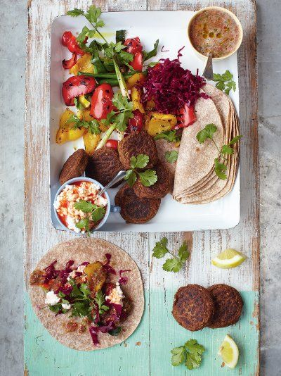 Falafel with grilled veg and salsa. Add mint yoghurt and it's perfect || Jamie Oliver                                                            || Also try The Guardian recipe: http://www.theguardian.com/lifeandstyle/wordofmouth/2014/feb/19/how-to-cook-perfect-falafel