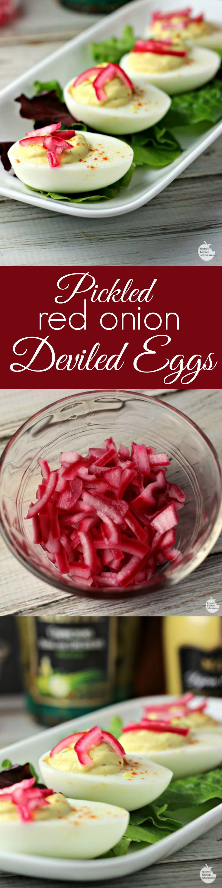 Pickled Red Onion Deviled Eggs | by Renee's Kitchen Adventures - Delicious recipe for a great anytime snack or appetizer! Crunchy, sweet, and savory all in one bite!