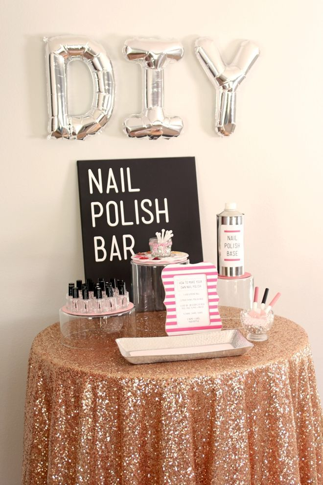 "How to make a ""DIY Nail Polish Bar""! Perfect for a bridal shower, bachelorette party or any girly party!"