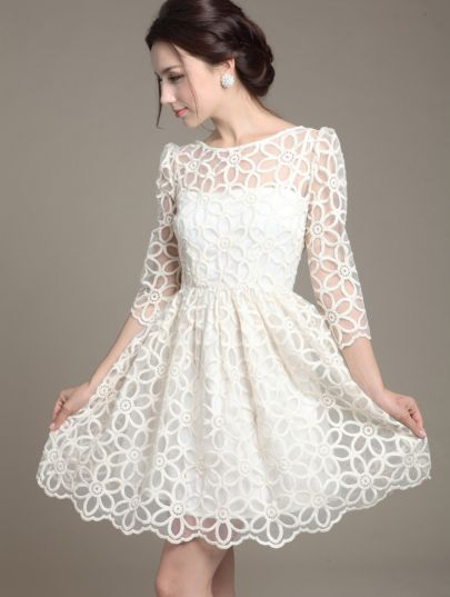 White Three Quarter Sleeve Organza Embroidery Dress