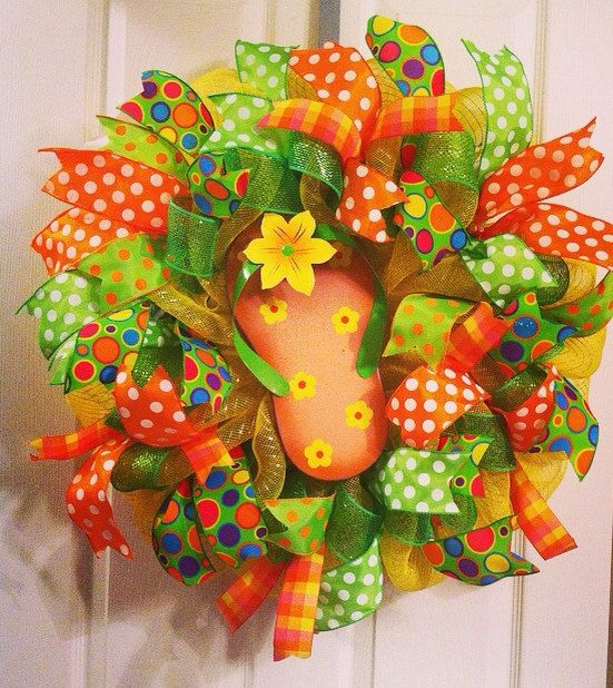 Summer Wreath/ Flip Flop Wreath/ Summer Deco by Wreaths4u2byPaula
