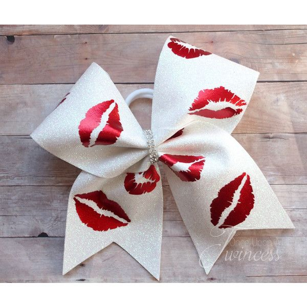 Kisses Cheer Bow Gifts for Cheerleaders Cheer Bows for Nationals Cheer... ($14) ❤ liked on Polyvore featuring accessories, hair accessories and silver