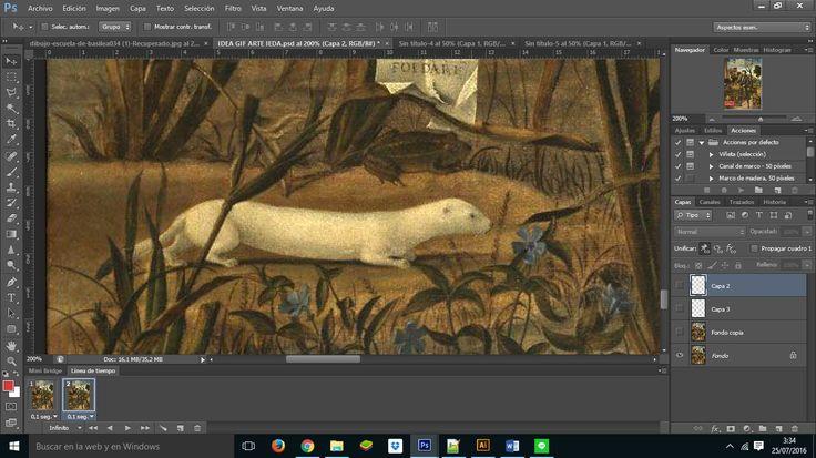 """[Paso 1] Tras escoger la obra, toca buscar elementos de la propia imagen para animar. Este pequeño parece tener potencial. Para hacer una animación GIF en Photoshop, partimos del mismo principio que en GIMP: disponemos en distintas capas los elementos que crearan la sensación de movimiento. Solo tenéis que abrir la línea de tiempo en el menú """"ventana"""" para tener acceso y controlar todas las opciones de los cuadros de la animación."""