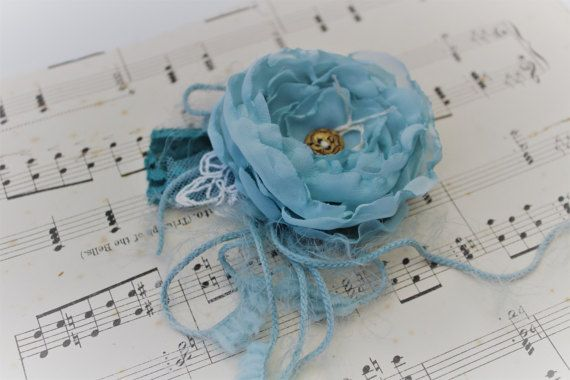 Fabric Flower Wrist Corsage Something Blue by onebrassbutton
