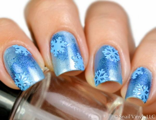 Blue Snowflake Nail Decal
