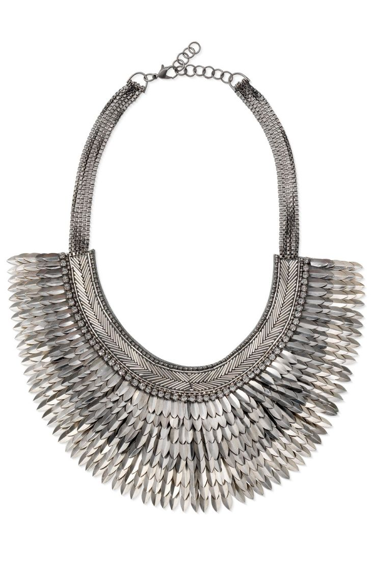 Silver & Metal Spike Statement Necklace | Silver Pegasus Necklace | Stella & Dot