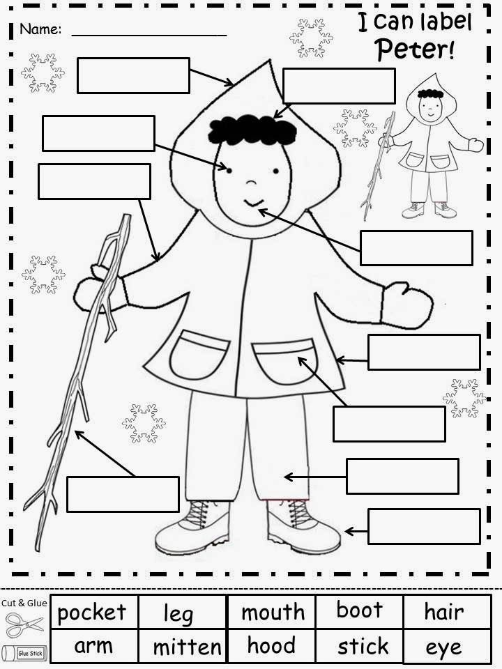 The Snowy Day Worksheets- label Pete, story maps, bubble