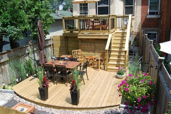 Two tiered decked garden decks patios pinterest for Garden design level 3