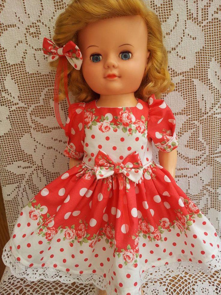 """SalStuff, Polka Dot Roses Dress, 22"""" Vintage Doll Pedigree Walker 1950's/1960's"""