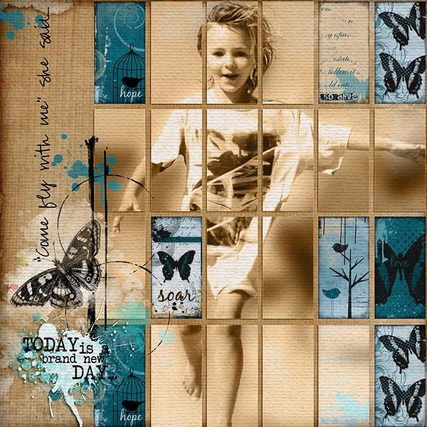 A favorite!! Layout by wombat146 - COME FLY using Angie Young's designs - Scrap Art Studio Gallery