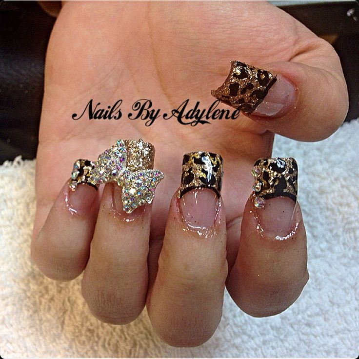 26 best nails by adylene images on pinterest rhinestones makeup cheetah nail art w3d bow prinsesfo Images