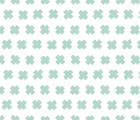 Gender neutral mint cross and abstract plus sign geometric grunge brush strokes scandinavian style print fabric by littlesmilemakers on Spoonflower - custom fabric