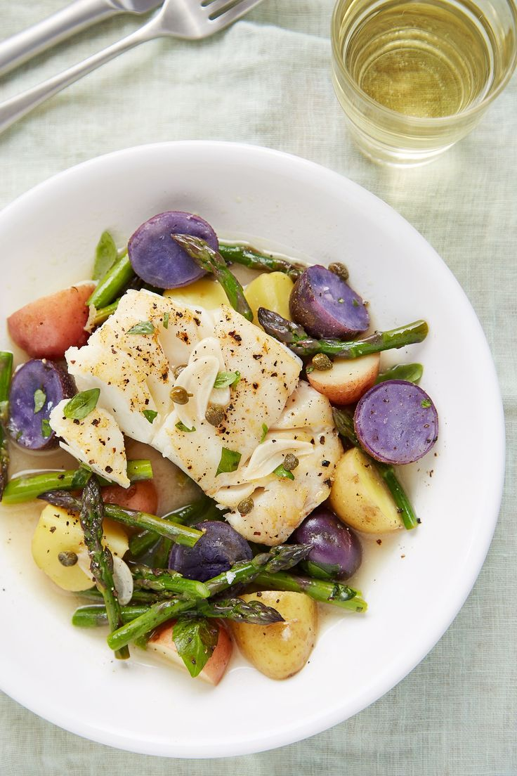 Recipe: Skillet Braised Cod with Asparagus and Potatoes — Quick and Easy Weeknight Dinners