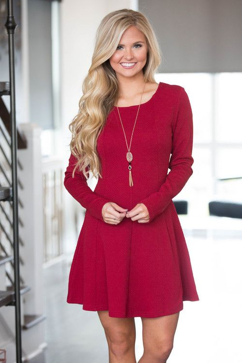 This sweet dress is sure to make your heart sing! We adore the beautiful burgundy color paired with the soft and slightly textured material - it's a wonderful look that's perfect for wearing with boot