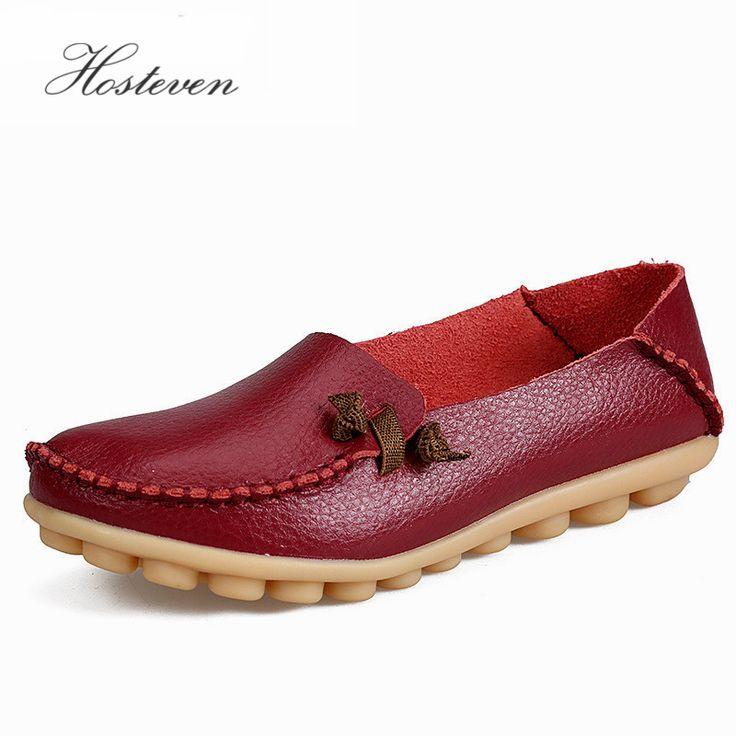 Mode Femmes en cuir véritable mère Chaussures Mocassins femmes Soft Loisirs Flats Femme Driving Chaussures plates,rouge,6