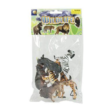 6 Wilde dieren in zak  Leuke set met zes realistisch uitziende wilde dieren waarmee kinderen eindeloos speelplezier beleven. De set bevat mooie exotische dieren zoals een brullende leeuw en tijger of een statige giraffe.  EUR 3.99  Meer informatie