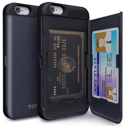 iPhone 6S Case, TORU [CX PRO] iPhone 6 Wallet Case - [CARD SLOT][ID HOLDER][KICKSTAND] Protective Hidden Wallet Case with Mirror for iPhone 6/6S - Metal Slate