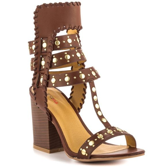 Strappy studded brown heels Justfab Sandals. As always, prices negotiable :) Shoes Heels