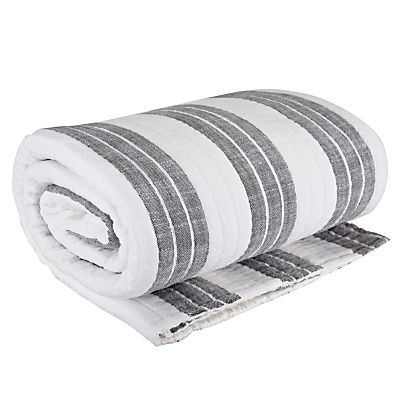 Grey striped bed throw