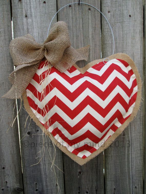 Valentine Day Burlap Door Hanger Valentine Decoration Heart Burlap.