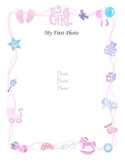 """Free Printable Baby Book Page, """"Girl's First Photo"""""""